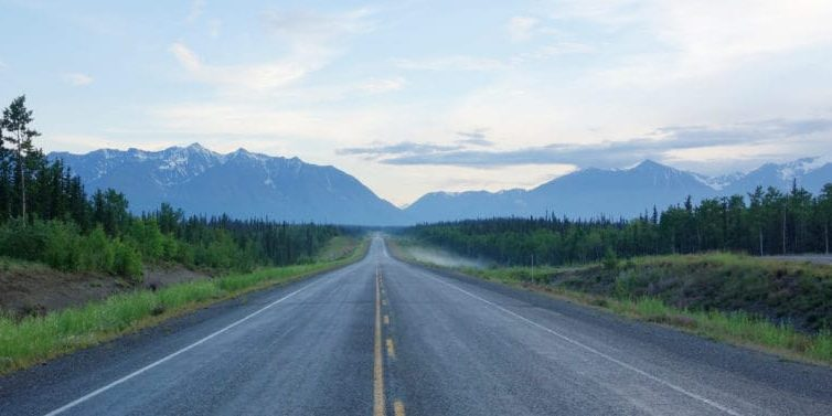 Centre of a long deserted Alaska Highway